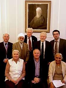 Board meeting, Baha'i Centre London 29 October 2013 Standing from left: Derek McAuley, Ajit Singh MBE, Rev. Dr. Richard Boeke, Feargus O'Connor, Pejman Khojasteh Seated from left: Sr. Georgina Long, Rev. Chris Hudson, Charanjit Ajitsingh MBE